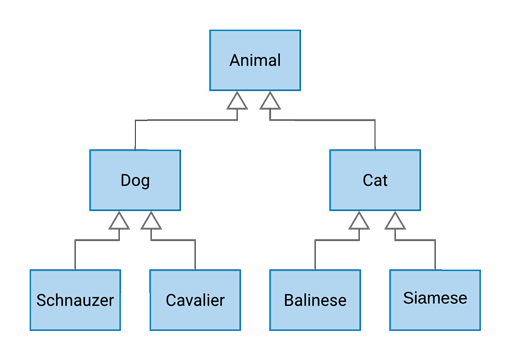 A type hierarchy of Animals, including a few Dog and Cat subtypes.