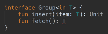 An error caused by making the type parameter out, but including it as a function argument.