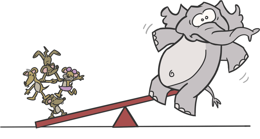 Cartoon of mice and an elephant on a seesaw, with mice weighing more.