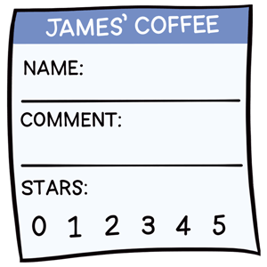 A comment card for a guest to enter their name, a comment, and a star rating.