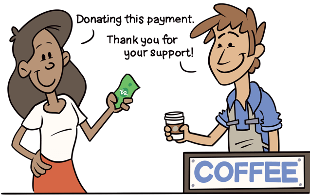 The guest donates a payment and receives a coffee.