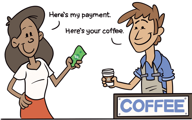 The guest provides payment and receives a coffee.